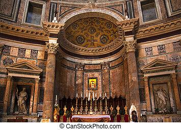 altar, oro, icono, panteón, roma, Italia