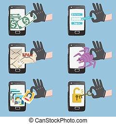 Online hacker activity on smartphone - Set of hacker...