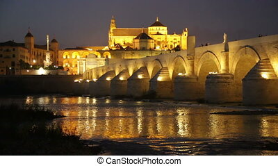 Night view of Cordoba with Roman bridge and Mosque-cathedral...