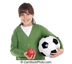 Girl whit ball and apple