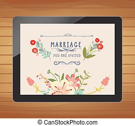 wedding invitation with floral