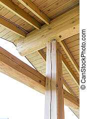 Roof truss system from below - Interior view of a wooden...