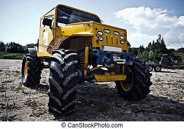 coutume, construit, camion, avant, de-route, concurrence