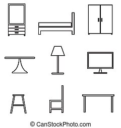 furniture icons set