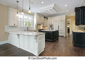 Kitchen with white cabinetry - Kitchen in new construction...