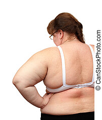 women with overweight from behind isolated on white