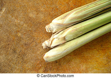 lemongrass - three lemongrass on the board chopped