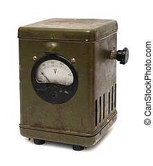old obsolete electric voltmeter device - old obsolete dirty...