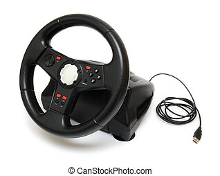 steering wheel simulator for pc games isolated on white