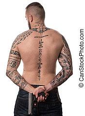 costas, arma, vista, tatuado, parte traseira, homem