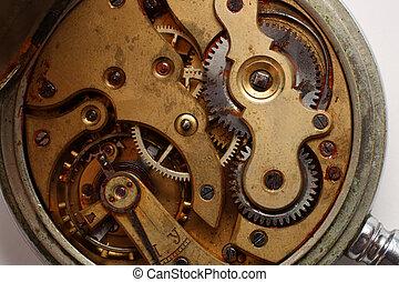 old pocket watch rusty gear