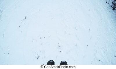 Landing from ski lift - Man planted from ski lift