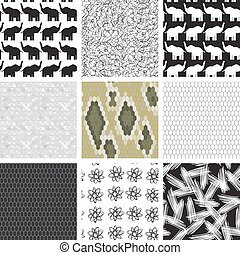 large set of seamless pattern with elephants.  Snake skin texture Seamless pattern python. pattern of triangles, gray background. Vector