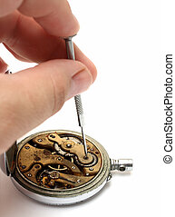old watch repair on white background