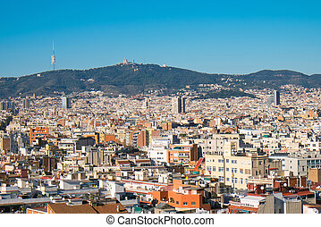 View from Montjuic to Tibidabo in Barcelona
