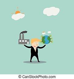 Businessmen using green energy