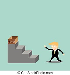 Businessman climbing the ladder of success