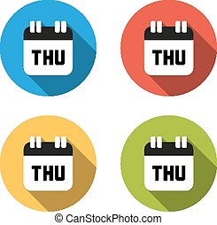 Collection of 4 isolated flat colorful buttons for Thursday...
