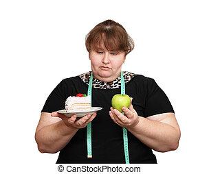 Haciendo dieta, sobrepeso, mujeres, opción