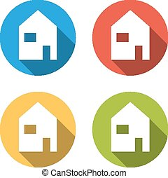 Collection of 4 isolated flat colorful buttons for home (house)