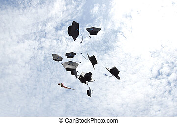 graduates hat thrown into the sky