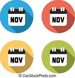 Collection of 4 isolated flat colorful buttons for November...