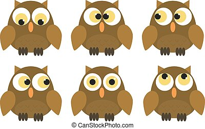 Collection of 6 owl characters - Set of 6 owl characters...