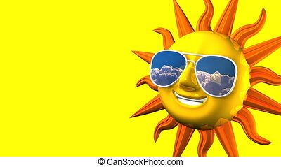 Smiling Sun With Sunglasses On Yellow Text Space
