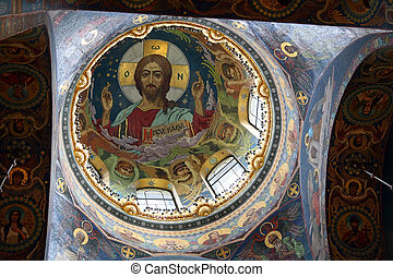 christ fresco in dome cupola saint-petersburg russia