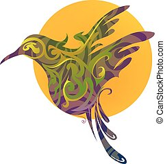 Bird creative emblem - Bird emblem shaped with ornamental...