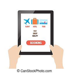 travel booking online on tablet