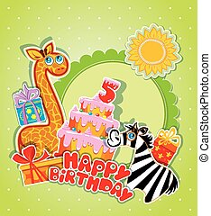 Baby birthday card with girafe and zebra, big cake and gift boxe