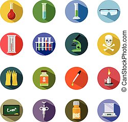 Vector science flat icon set