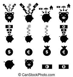 piggy bank icon set