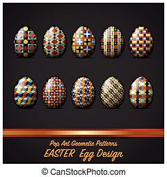 Easter Day Egg With Pop Art Geometric Pattern Style