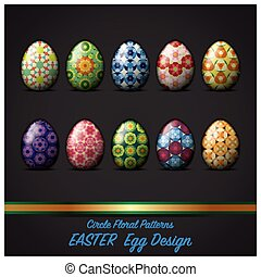 Easter Day Egg With Circle Floral Pattern Style