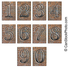 Metal type numbers isolated on white A full set of ten...