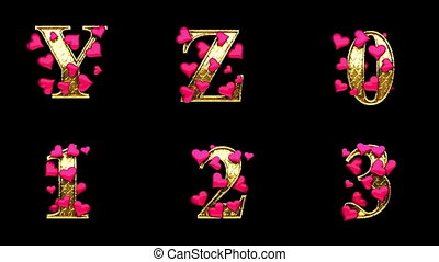 golden alphabet with hearts