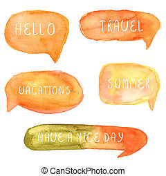 Set Orange watercolor blank speech bubble watercolor painted...