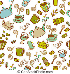 Tea and coffee seamless background Vector doodles pattern