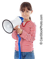 girl with megaphone - Little girl shouting through megaphone...