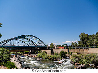 Platte River Under Bridge in Denver - The Platte river...