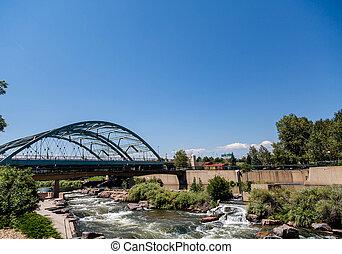 Platte River Under Bridge in Denver - The Platte river...