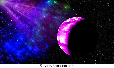 Purple light andt planet in space, Ilustration.