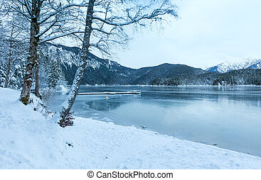 Eibsee lake winter view. - Eibsee lake winter morning view,...