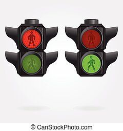 semaphore - Realistic pedestrian traffic lights with red and...