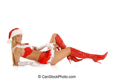 Young sexy Santa isolated on white
