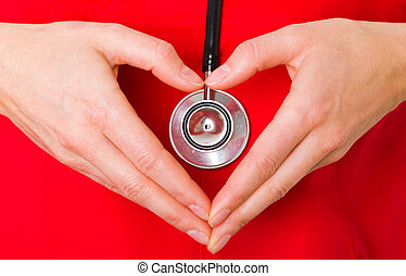 Cardioprotection - Closeup photo of doctor hands shaping a...