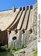 Dam Escales - Hydroelectric dam with blue sky in Spain
