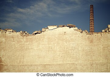 Smokestack - Brick smokestack in an old abandoned factory,...